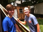 Cole and Maggie getting the measurements right at Mr. Andrews' home